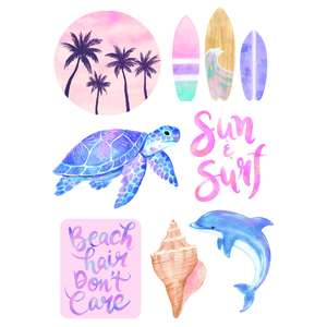 beach and surfing watercolor stickers