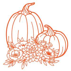 pumpkins silhouette with flower bouquet