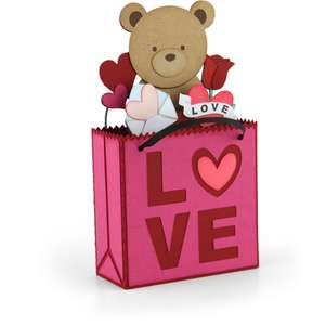 box card shopping bag valentine bear