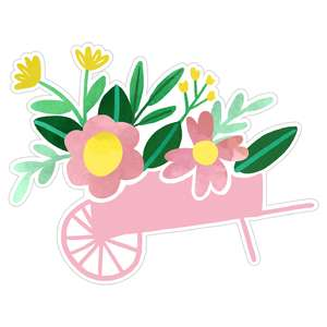 watercolor flower wheelbarrow