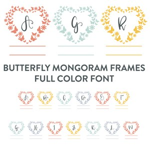 butterfly heart full color monogram font