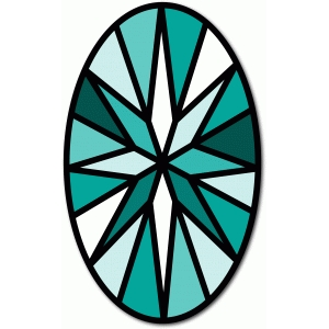 stained glass oval stone