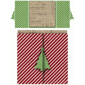 christmas tree square double folded card