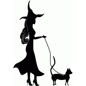 witch walking cat