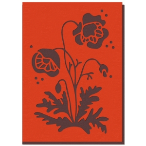 poppy flower fold over card