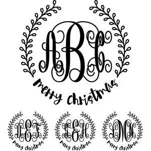 monogram elaborate script - merry christmas wreath