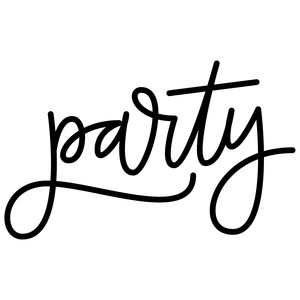 party hand lettered word