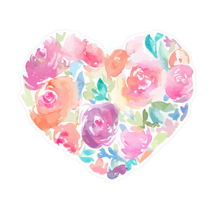 cute watercolor flower heart