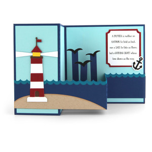 pop up box card father's day lighthouse