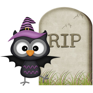 halloween owl witch with headstone