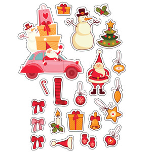 ml vintage christmas stickers