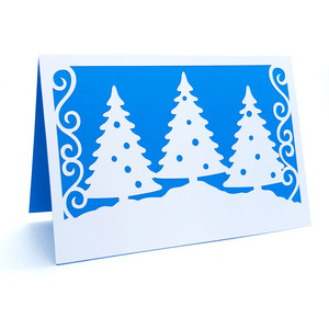 christmas trees and snow card