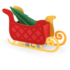 3d sleigh with tree