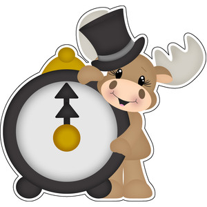 new years moose with clock