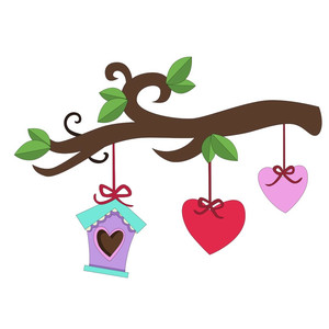 birdhouse with hearts valentine