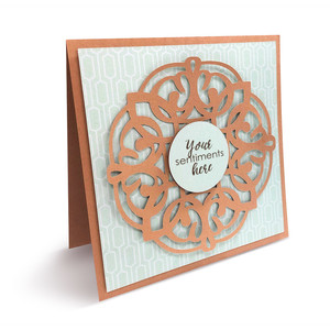 layered card with doily