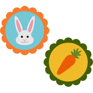 bunny and carrot scallop tags
