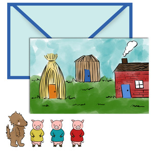 paper doll scene set - 3 little pigs
