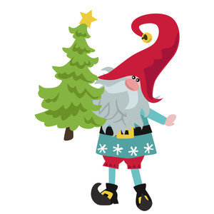christmas elf with tree