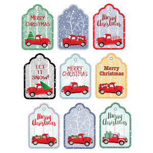 red trucks and trees tags