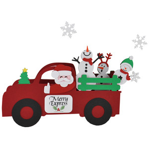 3d merry express snow family tree truck