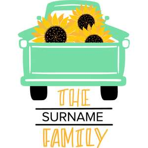 sunflower truck family porch sign
