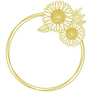 pretty sunflower circle monogram frame