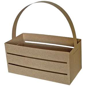 rectangle crate slat box with handle