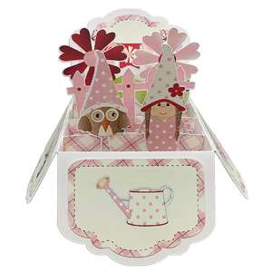 5x7 pink gnomes popup card in a box
