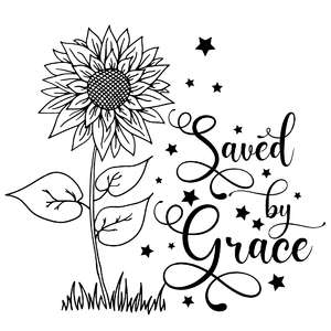 saved by grace sunflower quote