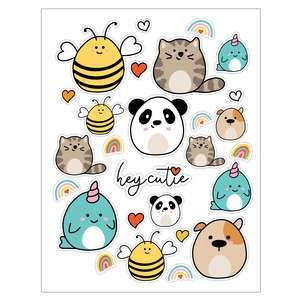 cute animal sticker sheet template