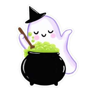kawaii ghost stirring cauldron