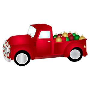 vintage red truck filled with ornaments