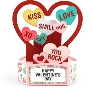 hexagon pop up card valentine hearts