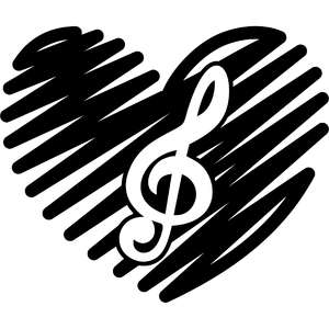 scribbled heart with musical note
