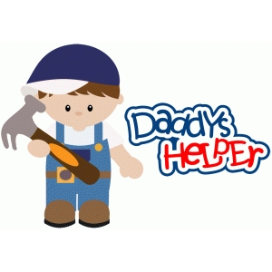 daddys helper boy with hammer construction