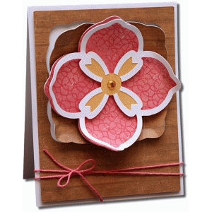 decorative square cut-out flower a2 card