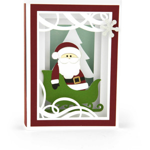 shadow box card santa in sleigh