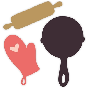 rolling pin, oven mitt & frying pan