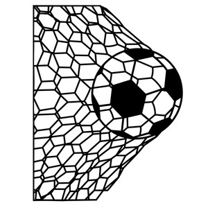 soccer ball in net silhouette