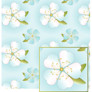 big flowers on aqua pattern