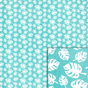 blue monstera leaves background paper
