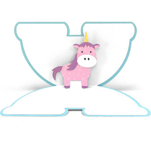 pop up card rainbow unicorn