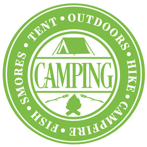 camping word label