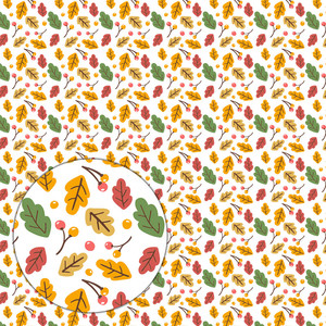 autumn pattern with leaves and berries