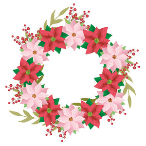 pink poinsettia christmas wreath