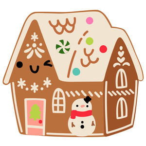 kawaii gingerbread house with snowman