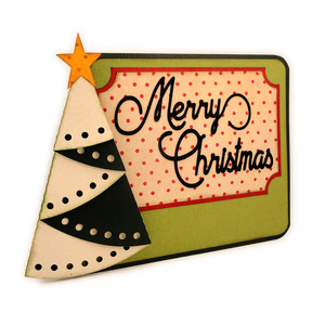 christmas tree folded edge 5x7 easel card