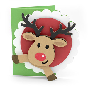 christmas reindeer scallop card
