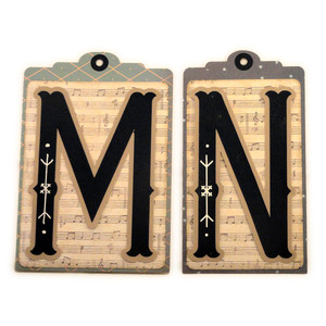 initial m n stitched pocket tag or card